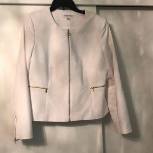 Calvin Klein white blazer with gold details